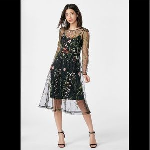 Floral embroidered long sleeve mesh dress